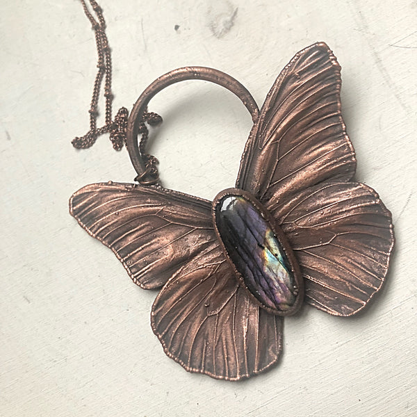 Electroformed Butterfly & Purple Labradorite Necklace - Spring Equinox Collection