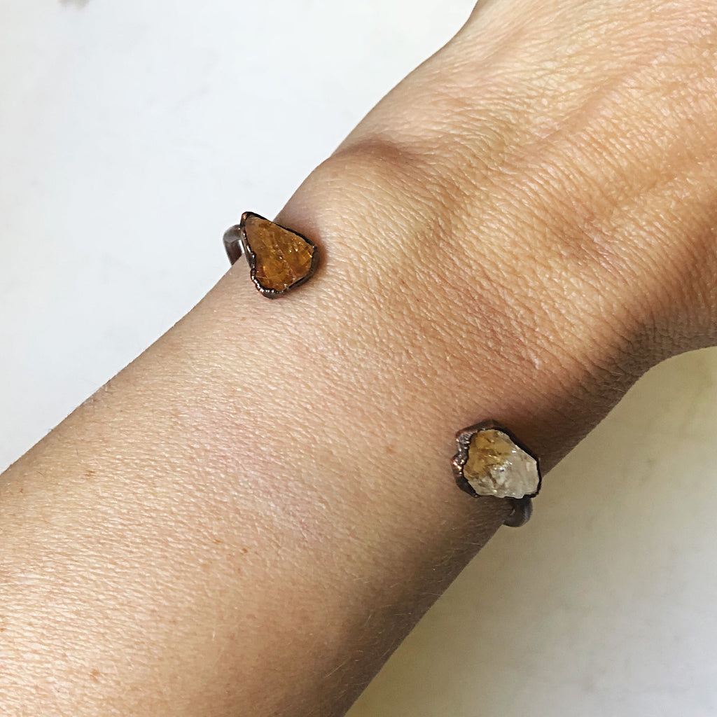 Raw Citrine Chakra Cuff Bracelet - Holiday Made to Order