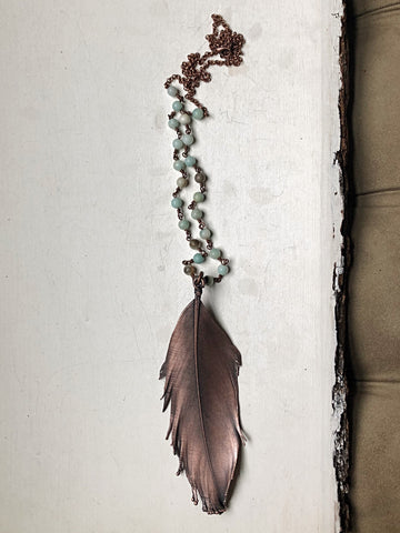Large Electroformed Feather & Amazonite Necklace #2 - Moksha Collection