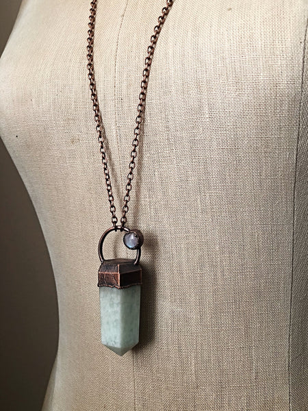 Amazonite Six-Sided Point with Rainbow Moonstone Necklace