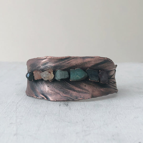 Electroformed Feather Cuff with Raw Chakra Stones #2 - Ready to Ship