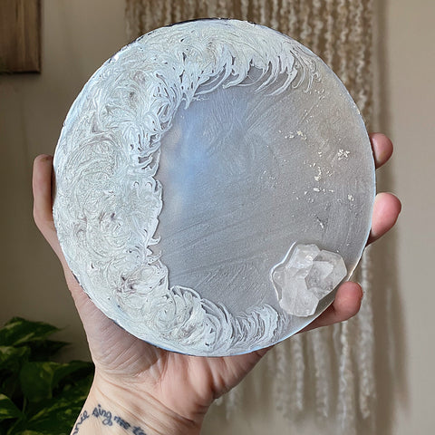 Large Silver Crescent Moon Scrying Mirror with Clear Quartz Cluster - Ready to Ship