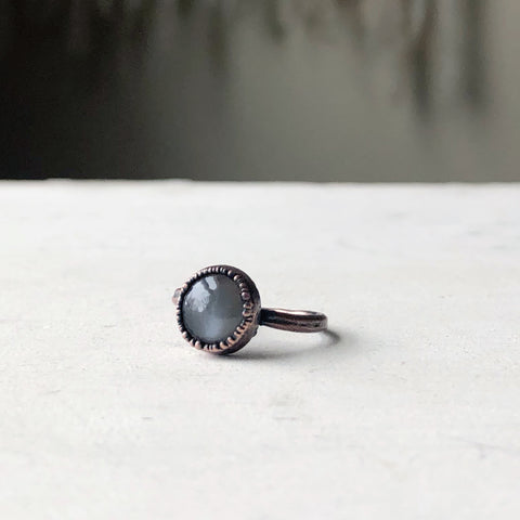 Grey Moonstone Ring - Round #1 (Size 6) - Ready to Ship