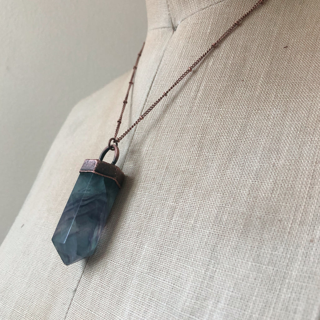 Fluorite Polished Point Necklace #9 - Ready to Ship