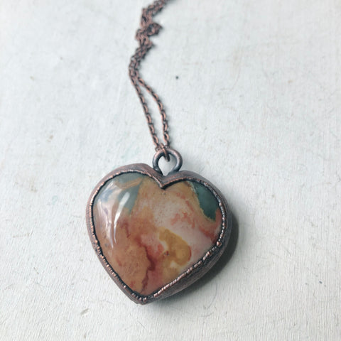 Polychrome Jasper Heart Necklace #7