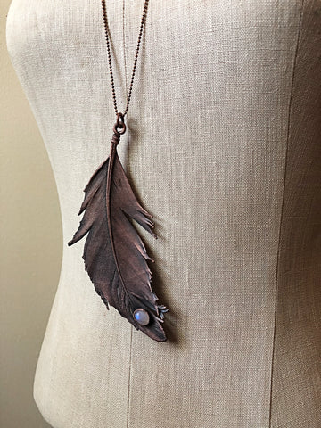 Electroformed Feather and Rainbow Moonstone Necklace #2 - Ready to Ship (Flower Moon Collection)