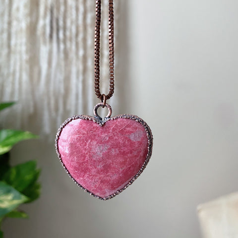 Thulite Heart Necklace #2 - Ready to Ship