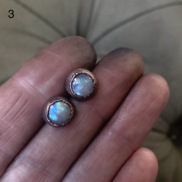 Rainbow Moonstone Stud Earrings - Ready to Ship