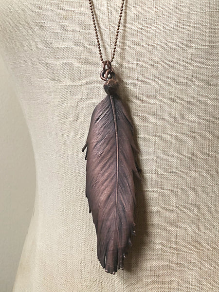 Electroformed Feather Necklace with Raw Garnet Charm (Super Blood Wolf Moon Collection)