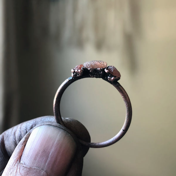 Raw Sunstone Triple Stacking Ring  - Ready to Ship