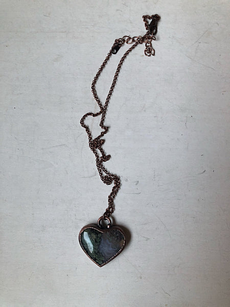 Moss Agate Heart Necklace #1 - Ready to Ship