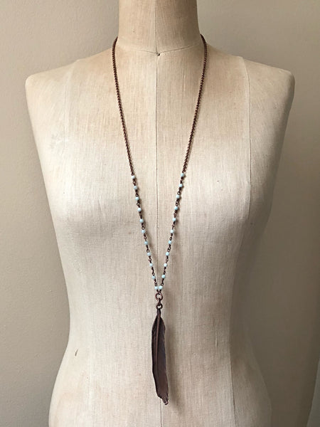 Electroformed Feather & Amazonite Necklace #2 (Satya Collection)