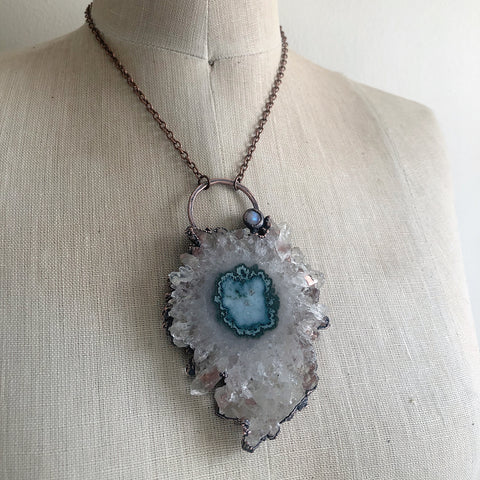 Stalactite Slice Necklace #2 with Rainbow Moonstone - Ready to Ship
