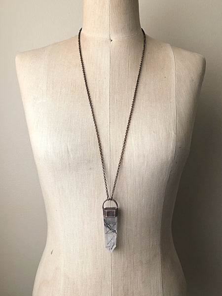 Tourmilinated Quartz Point Necklace #1 (Ready to Ship) - Darkness Calling Collection