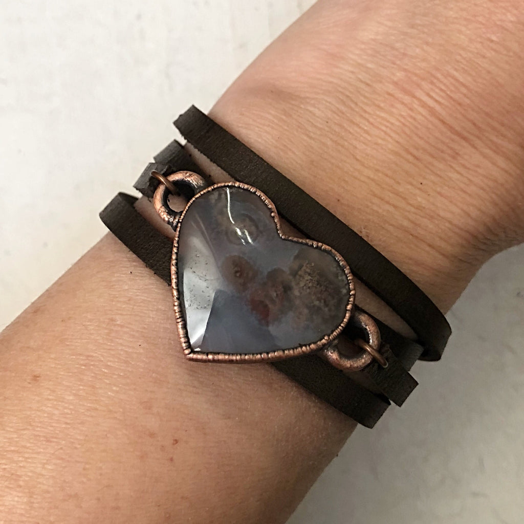 Moss Agate Heart and Leather Wrap Bracelet/Choker #1