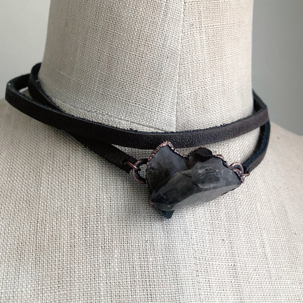 Smoky Quartz Cluster & Leather Wrap Bracelet/Choker - Ready to Ship