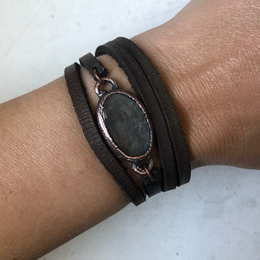 Silver Obsidian and Leather Wrap Bracelet/Choker #2 (Ready to Ship) - Darkness Calling Collection