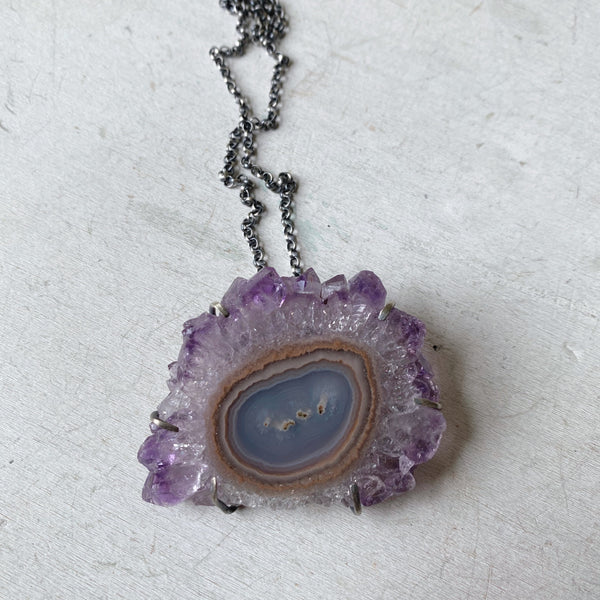 Amethyst Stalactite Slice Necklace #4- Sterling Silver