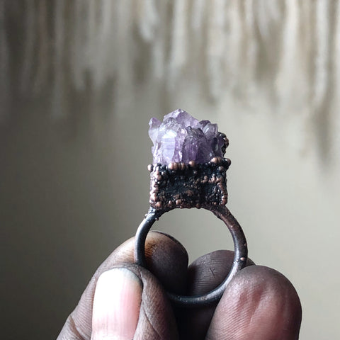 Raw Amethyst Cluster Ring #1 (Size 5.75) - Ready to Ship