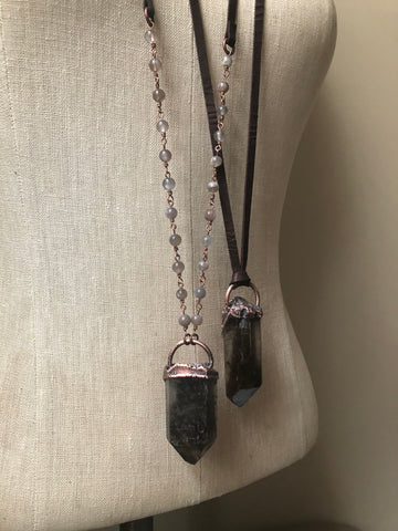 Raw Smoky Quartz Point Necklace (Ready to Ship) - Darkness Calling Collection
