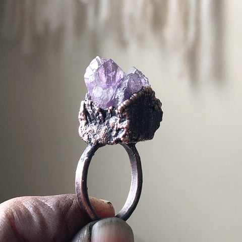 Raw Amethyst Cluster Ring #3 (Size 7.75) - Ready to Ship