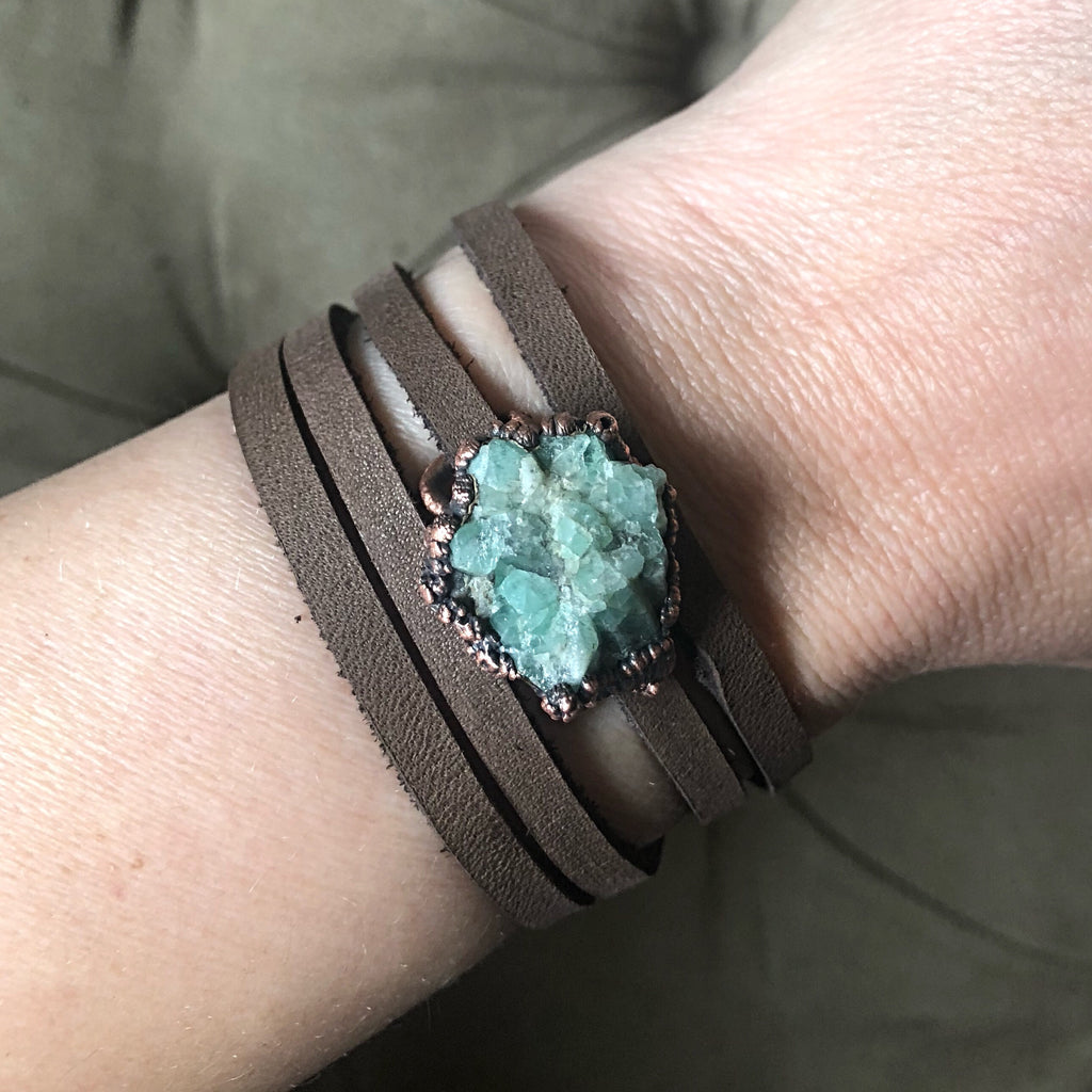 Raw Emerald and Leather Wrap Bracelet/Choker - Ready to Ship