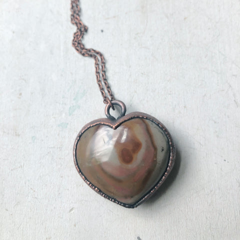 Polychrome Jasper Heart Necklace #8