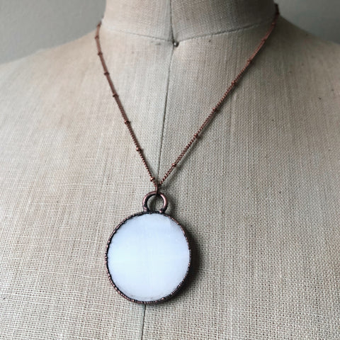 Selenite Snow Moon Necklace #1 - Ready to Ship