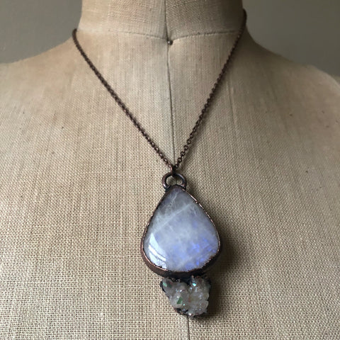 Rainbow Moonstone Teardrop and Angel Aura Necklace - Ready to Ship