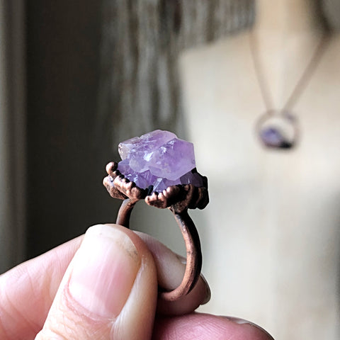 Tibetan Amethyst Mini Cluster Ring #3 (Size 6.5) - Tell Tale Heart Collection