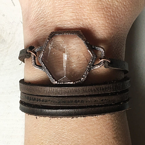 Clear Quartz Hexagon and Leather Wrap Bracelet/Choker - Made to Order