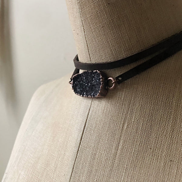 Gray Druzy and Leather Wrap Bracelet/Choker #6 - Ready to Ship