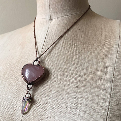Rose Quartz Heart with Angel Aura Point Necklace - Ready to Ship