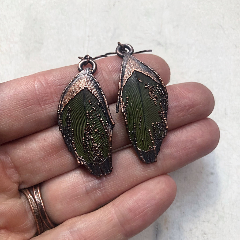 Electroformed Green Macaw Feather Earrings #3 - Ready to Ship