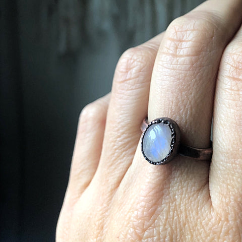 Rainbow Moonstone Ring - Oval #8 (Size 8.5) - Ready to Ship