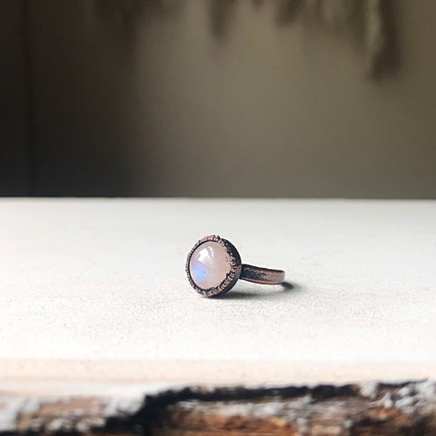 Rainbow Moonstone Ring - Round #3 (Size 4.75) - Ready to Ship