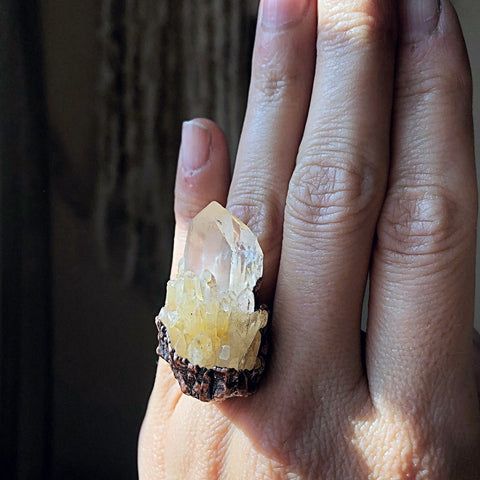 Candle Quartz Statement Ring (Size 6) - Summer Solstice Collection 2019