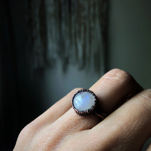 Rainbow Moonstone Ring - Round #1 (Size 6) - Ready to Ship