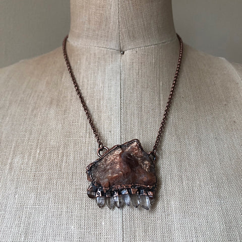 Raw Sunstone & Small Clear Quartz Point Statement Necklace - Summer Solstice Collection 2019