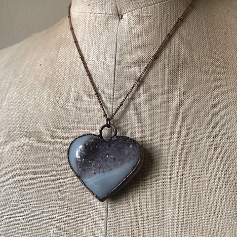 "Agate Druzy ""Broken Open"" Heart Necklace #4 - Ready to Ship"