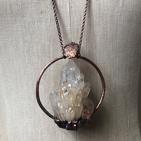 Candle Quartz & Raw Sunstone Statement Necklace - Summer Solstice Collection 2019