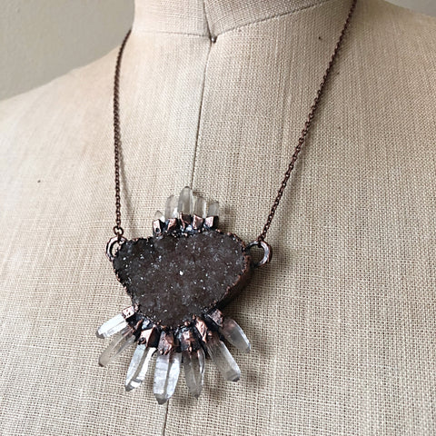 Druzy & Raw Clear Quartz Statement Necklace - Ready to Ship