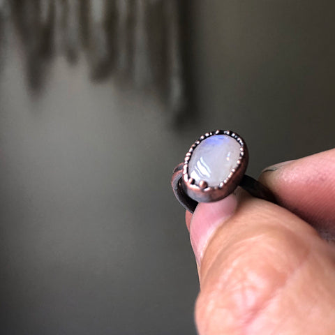 Rainbow Moonstone Ring - Oval #5 (Size 5.75) - Ready to Ship