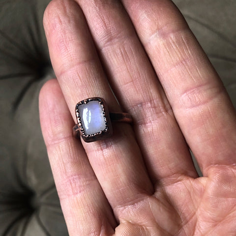 Rainbow Moonstone Ring - Rectangular #4 (Size 8) - Ready to Ship