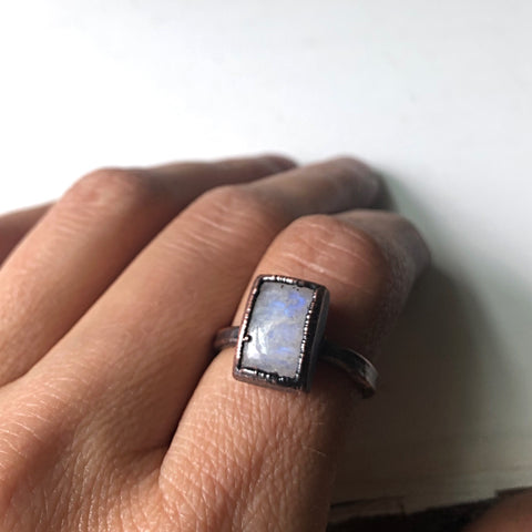 Rainbow Moonstone Ring - Rectangular #6 (Size 6-6.25) - Ready to Ship