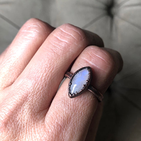Rainbow Moonstone Ring - Marquise #2 (Size 8.25-8.5) - Ready to Ship