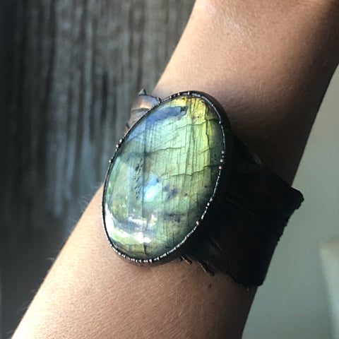 Labradorite and Electroformed Feather Cuff Bracelet - Ready to Ship
