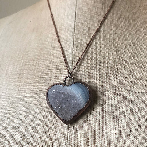 "Agate Druzy ""Broken Open"" Heart Necklace #3 - Ready to Ship"
