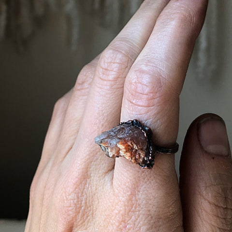 Raw Sunstone Ring #2 (Size 8.5) - Summer Solstice Collection 2019
