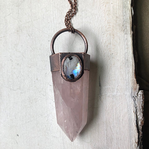 Large Rose Quartz Point & Rainbow Moonstone Necklace - Ready to Ship